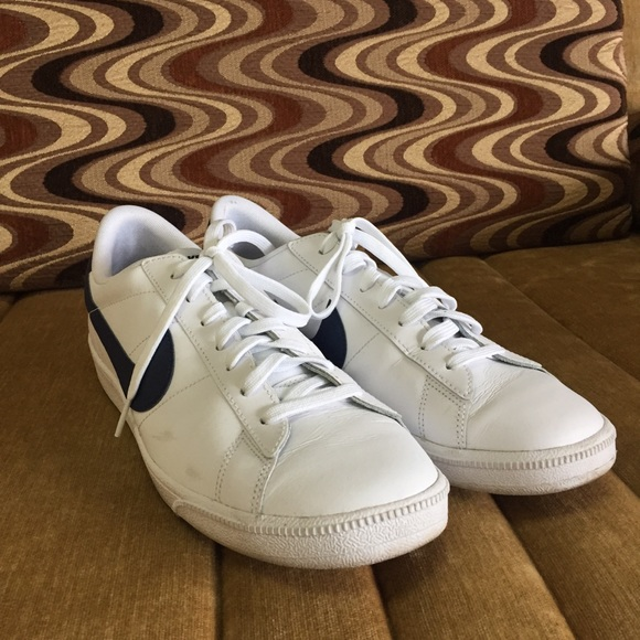 Nike navy and white sneakers.